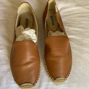 Soludos Brown Leather Smoking Espadrille, size 8